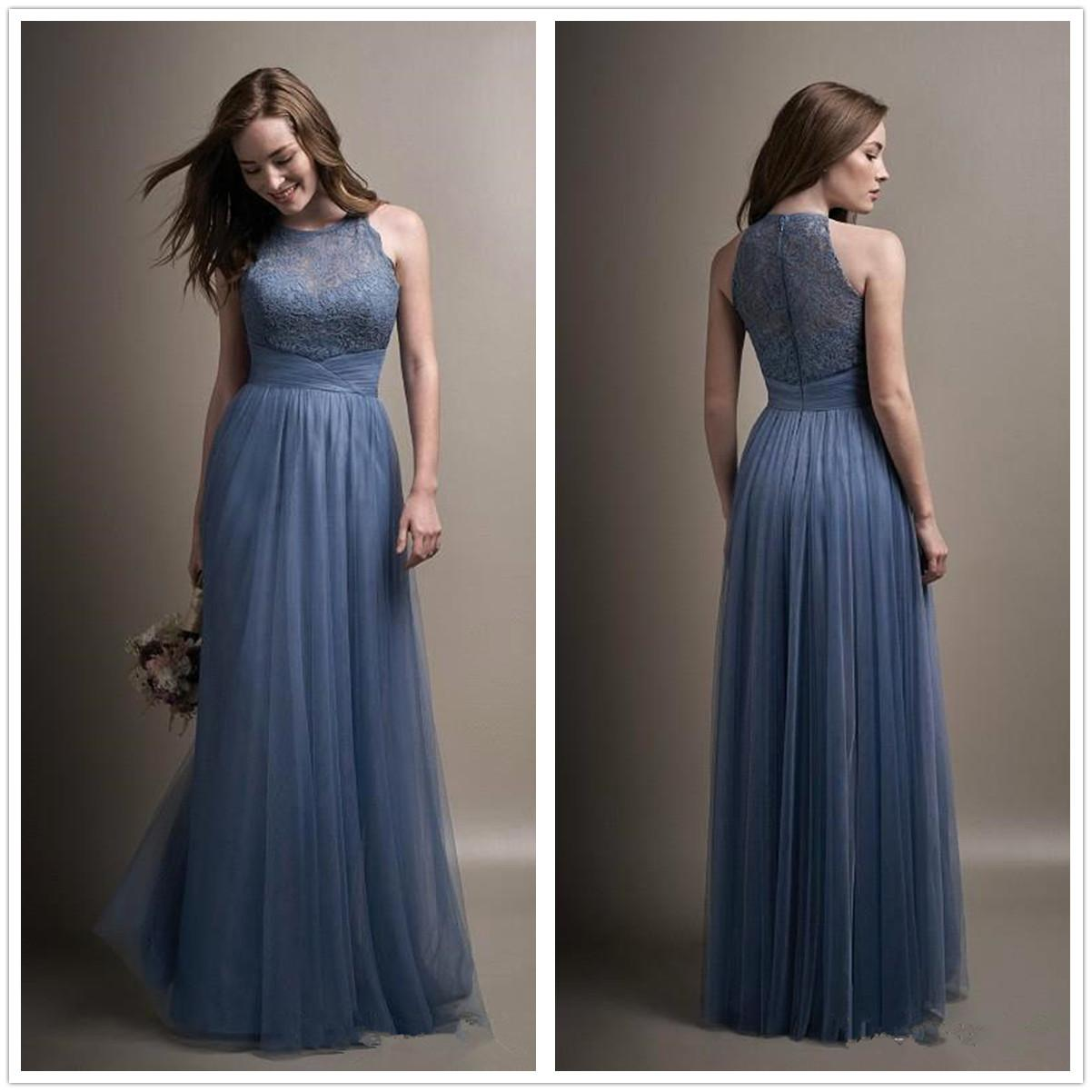 eafcfb0af802a New Dusty Blue Tulle Long Bridesmaid Dresses Crew Neck Lace Ruffle Floor  Length Party Evening Prom Dresses BA7433 Bridesmaid Dress Long Bridesmaid  Dresses ...
