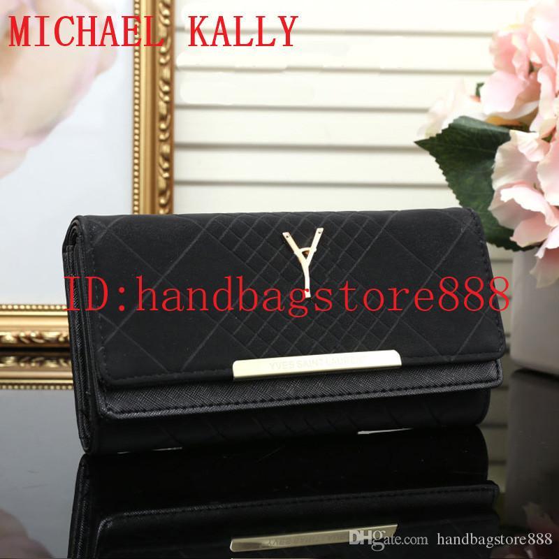 98e030dd584 Hot Sale 2018 Women MICHAEL KALLY Famous Brand Fashion Hasp Y Wallet Cheap Luxury  Designer Women Pu Leather Wallet Lady Ladies Plaid Purse Wallet Clutch ...