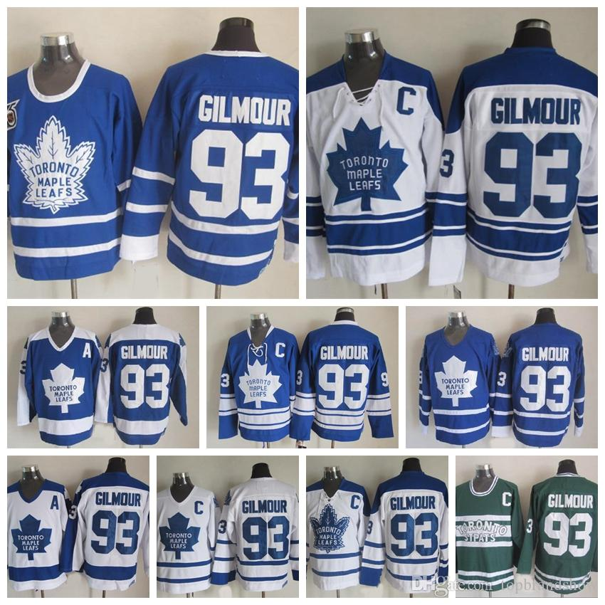 online retailer d0cf1 4ebe7 100% Embroidery Mens #93 Doug Gilmour Jerseys Toronto Maple Leafs Vintage  93 Doug Gilmour Hockey Jerseys 75th Anniversary Stitched C Patch