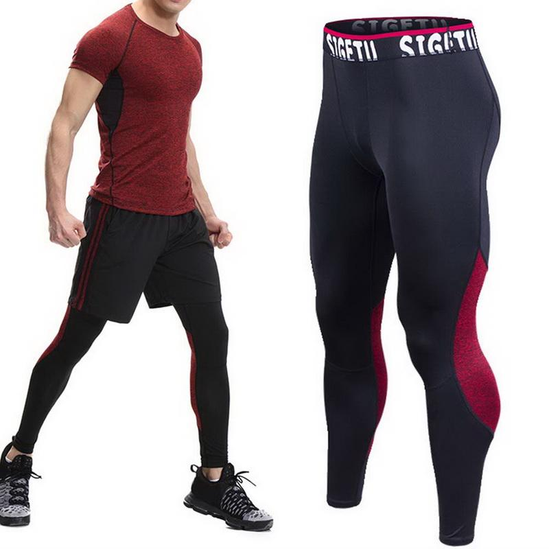 5186ecec13f CALOFE 2018 Men Pants Fitness Joggers Compression Tights Elastic Trousers  Fitness Men Bodybuiling Long Pants Leggings Plus Size Trainning   Exercise  Pants ...