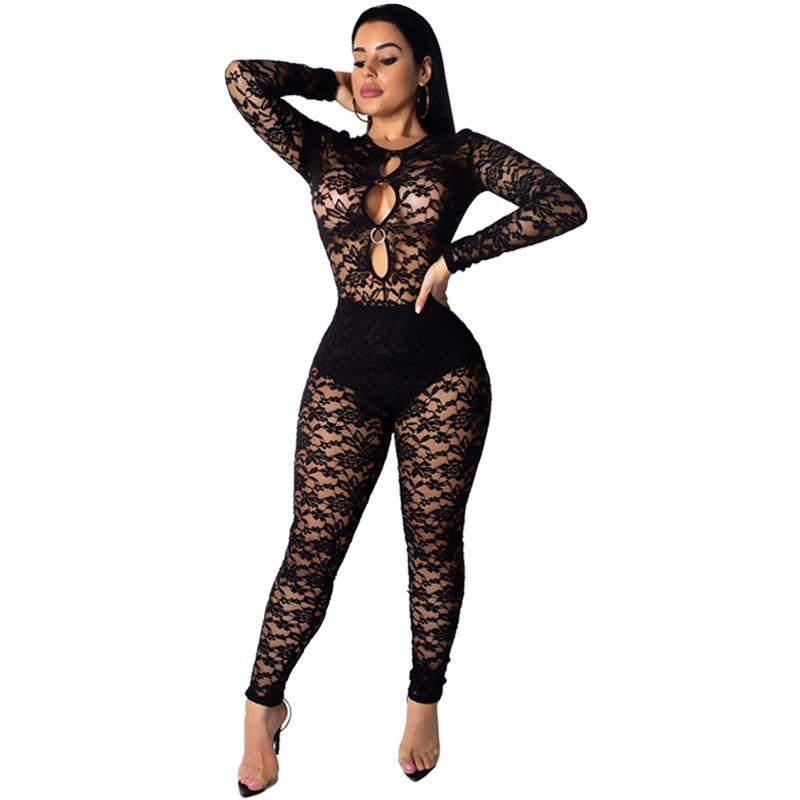 4bc11a6946a9 2019 Black Sexy Lace Jumpsuit Women Long Sleeve Party Club Bodycon Long Pants  Romper Transparent Mesh Hollow Out One Piece Jumpsuit From Xinpiao