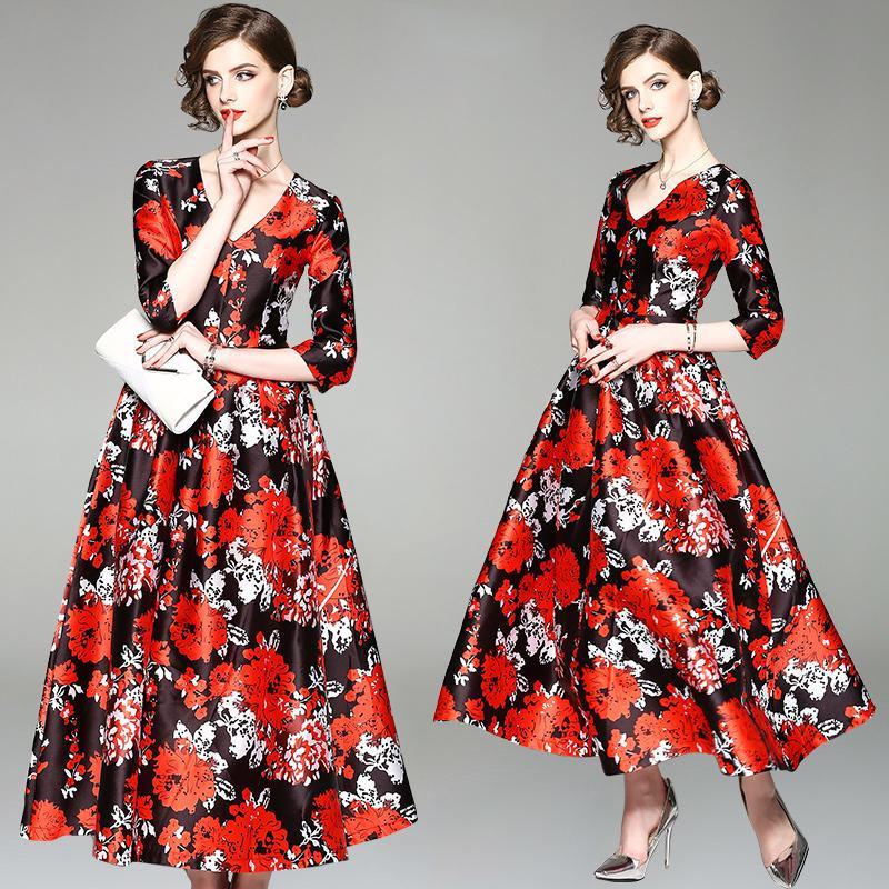 344c105cd 2019 Real Shot Spot New V Neck Print Luxury Retro Super Long Big Satin Dress  2019 Hot Sale Bridesmaid Dress Tulle Skirt Blush Ball Dress 8930 From  Zhuzhu584 ...