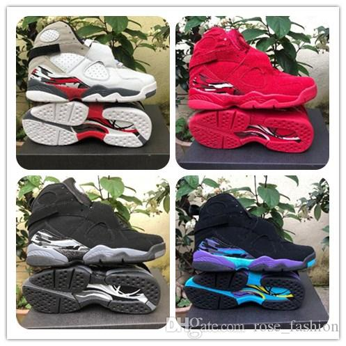 605ac414eb0 2019 8s Valentine's Day Red mens Basketball Shoes 8 Aqua Chrome COUNTDOWN  PACK Sports Sneakers Size7-13 With Box Free Shipping