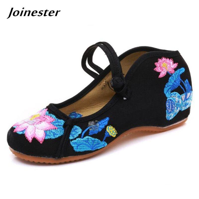b53e87ed8 Compre Designer De Vestido Sapatos De Lótus Bordar Étnica Senhoras Lona De  Salto Baixo Do Vintage Lazer Espadrilles De Verão Sandálias De Praia  Mulheres ...