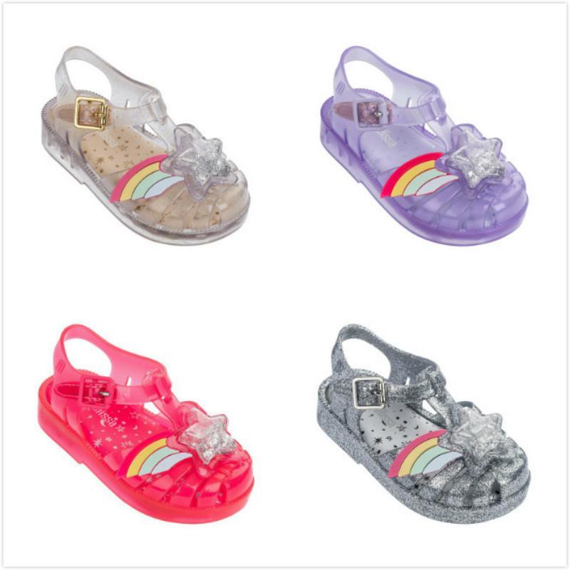 Baby Mädchen Sandalen für Mädchen Kinder Cartoon Transparente Hausschuhe Kleinkind Sandalen Kind Weiche Sohle Jelly Schuhe Neue Mode Kleinkind