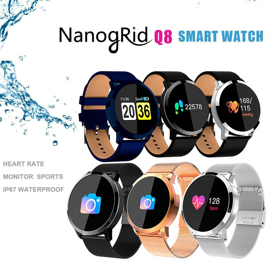 Q8 Smart Watch OLED Color Screen Smartwatch women Fashion Fitness Tracker Heart Rate monitor Blood Pressure Oxygen Wristwatch