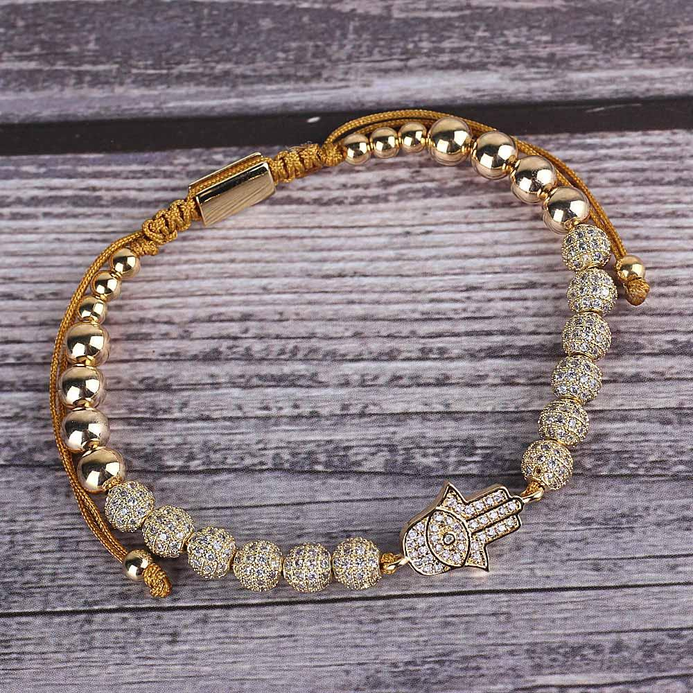 luxury CZ Evil hand Eyes bracelet ball Charm copper Beads Braided Adjustable handmade men Bracelets Bangles for women Jewelry