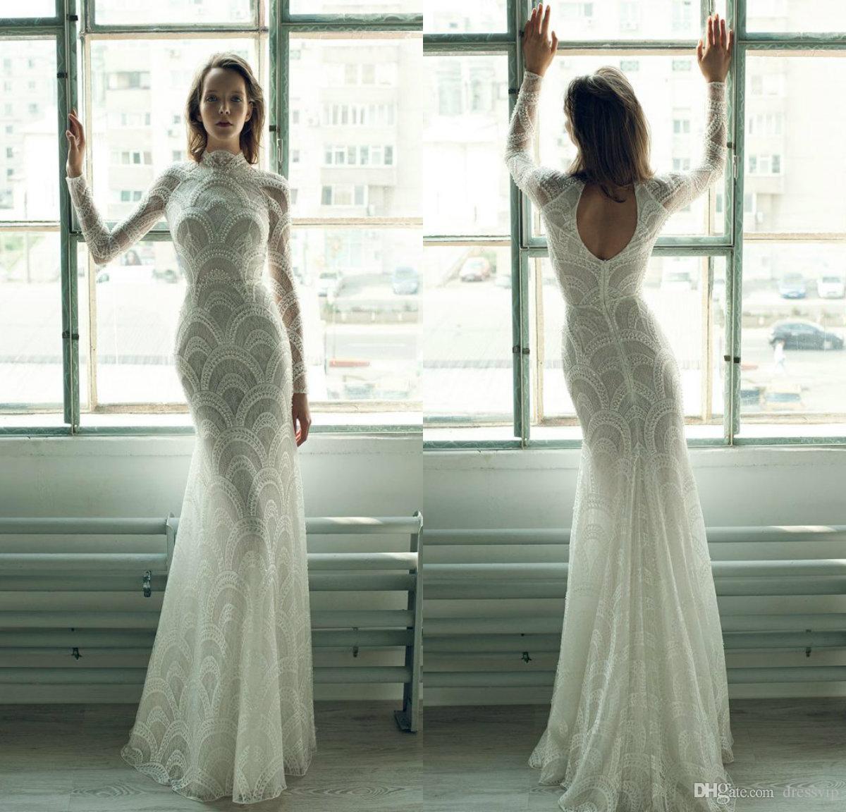 4530975eaac08 Ersa Atelier Mermaid Wedding Dresses High Neck Lace Hollow Back Floor  Length Beach Wedding Dress Custom Pearls Long Sleeve Bridal Gowns Purple Wedding  Dress ...