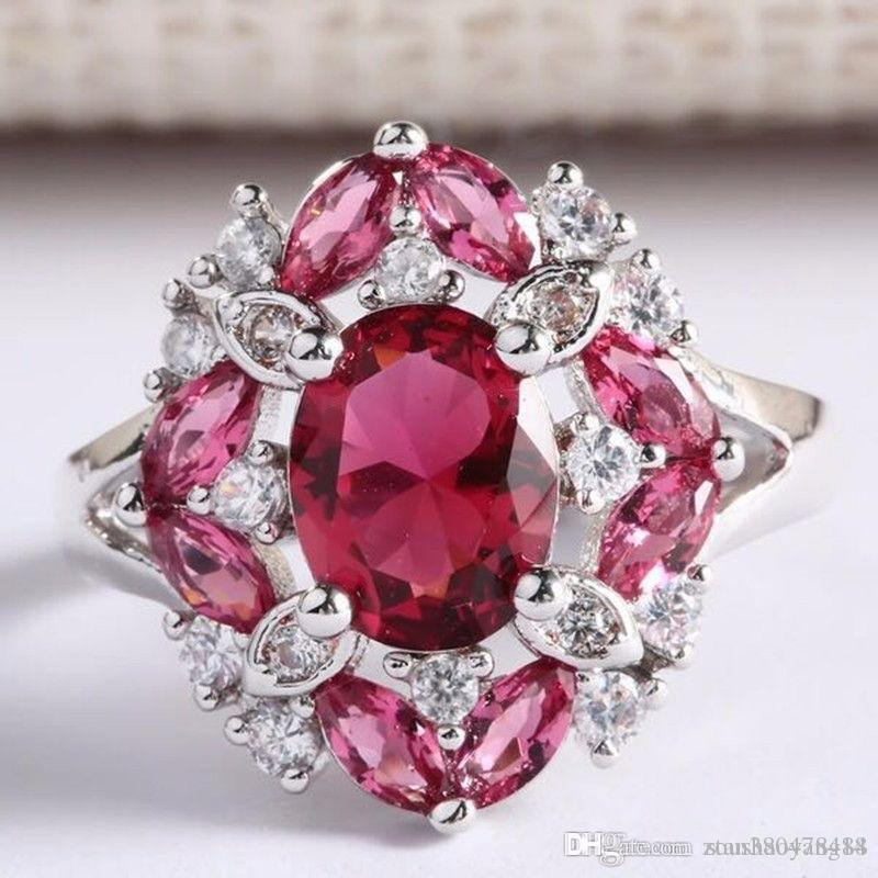 European and American women's party ruby ring Beautiful women's silver-plated jewelry for sale Fine workmanship high quality ladie
