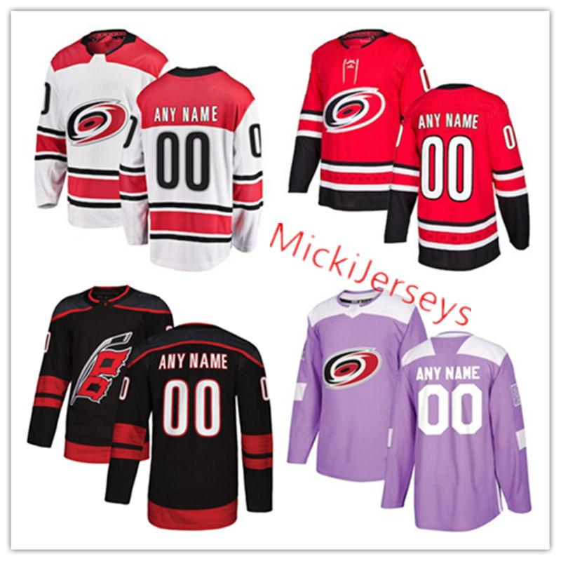 sports shoes 1adf9 44d63 Mens Custom Carolina Hurricanes Jersey Petr Mrazek Curtis McElhinney Justin  Williams Lucas Wallmark Andrei Svechnikov Sebastian Aho Jersey