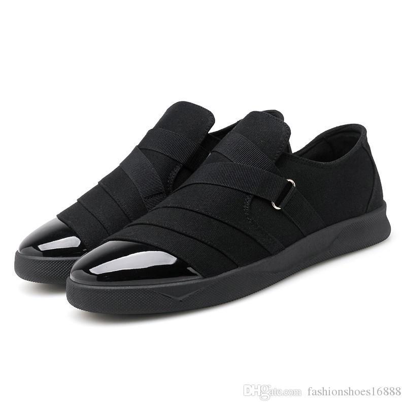 2e64b5a2f Compre Sapatos De Lona Para O Homem Mocassins Primavera Outono Homens  Sapatos Casuais Pretos Homens Vermelho Deslizamento Na Lona Sapata Plana  Zapatillas ...