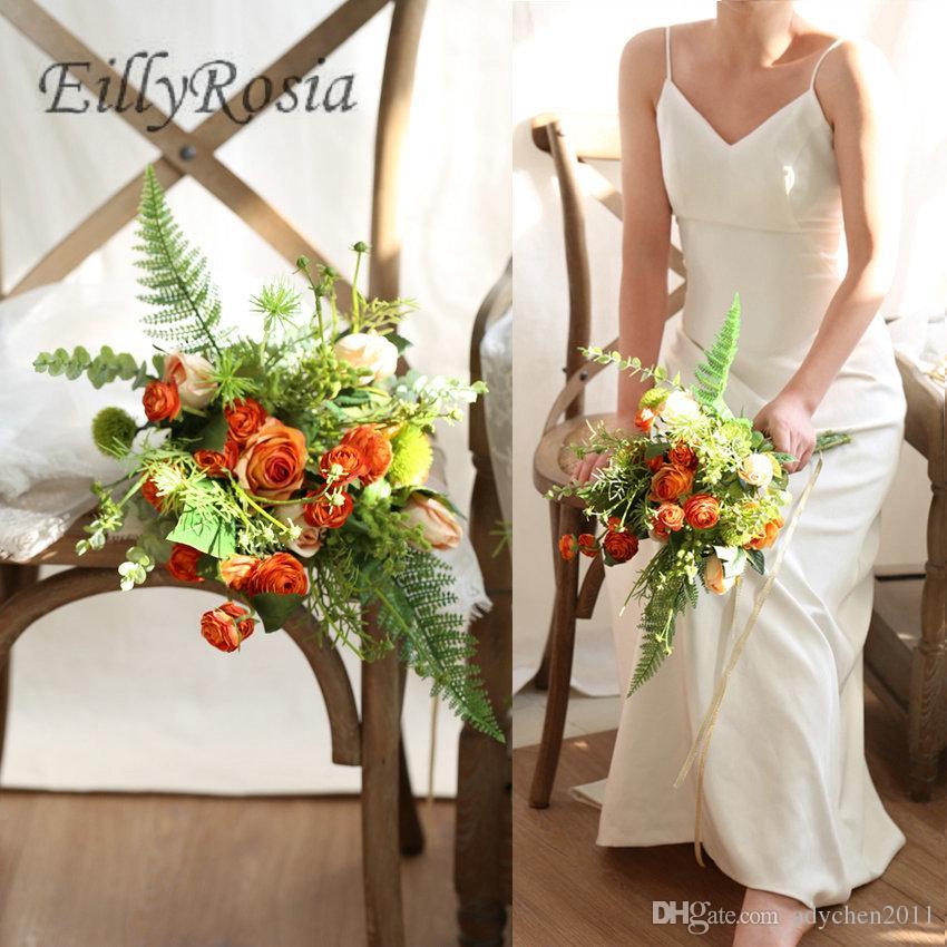 fdc06ec9eaefd Country Wedding Flower Bouquet 2019 Orange Bridal Bouquet Handmade  Artificial Flowers Kwiaty Bridemaid Bouquet fleur artificielle hochzeit