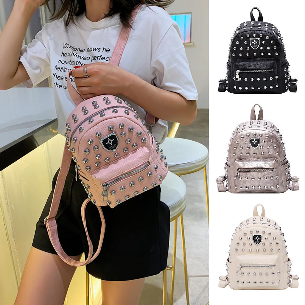 KKMHan Brand Fashion Women's Rivet Wild Wild Backpack New Cool Leisure Travel Backpack Dropshipping rucksack mochilas bolsos
