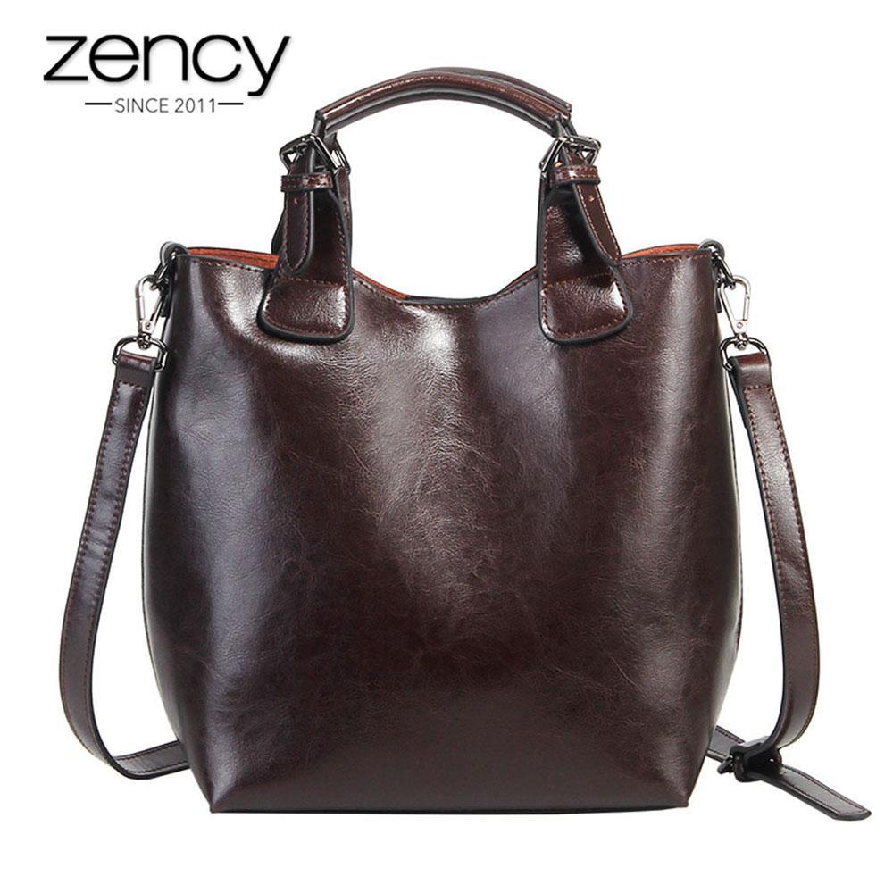 Zency 100% Real Cow Leather Handbag Retro Coffee Women Casual Tote Bucket  Bag Classic Black Lady Crossbody Messenger Purse Discount Designer Handbags  ... dfbd6dba25bb9