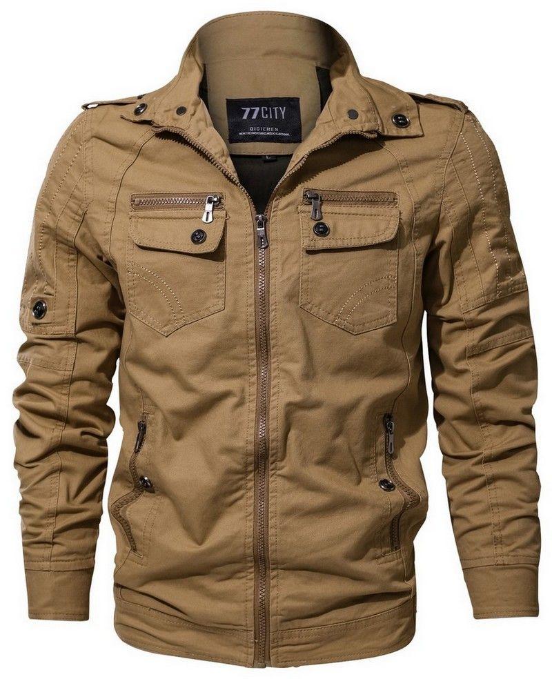dae1e6a92 New Men s Classic Multiple Zippers Pockets Pure Cotton Stand Collar  Lightweight Biker Jacket Stripe Bomber Coat Outwear