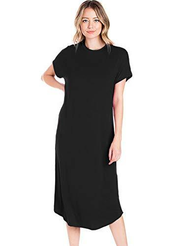 d7c74112b3e 12 Ami Basic Solid Short Sleeve Midi T Shirt Dress Made In USA Dressing For  Women Black Dress Cocktail Party From Silan, $40.71| DHgate.Com