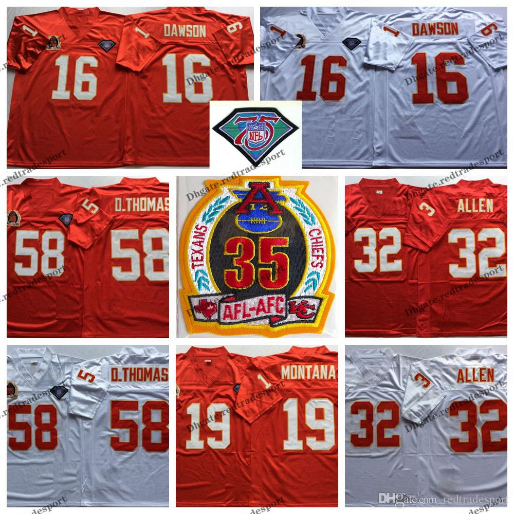 new arrival 9094c 87145 Vintage Kansas City 75th Chiefs 16 Len Dawson 19 Joe Montana 32 Marcus  Allen 58 Derrick Thomas Football Jerseys Cheap Stitched Shirts M-XXXL