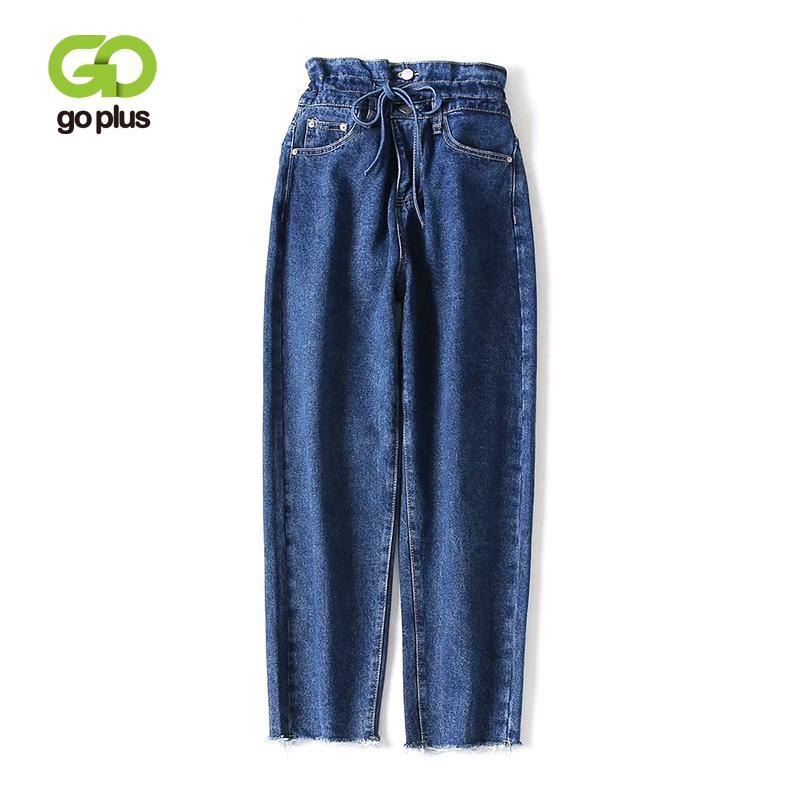 Taille Goplus Cravate Bleu Lacets Haute À Vintage Femmes 2019 Jeans Automne Large Pantalon Denim C7417 En Printemps Femme l1cTKFJ