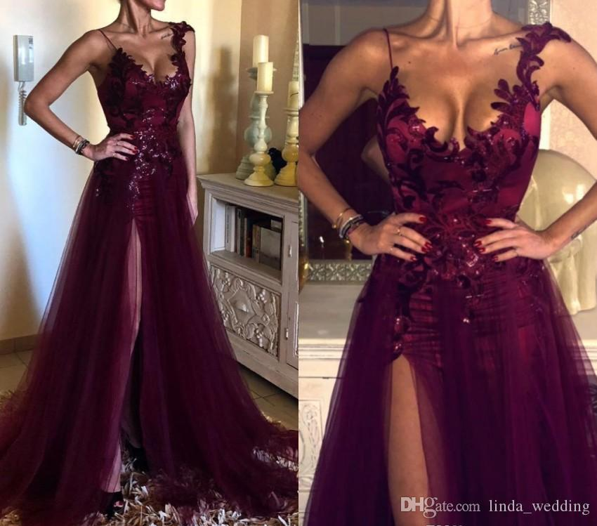 Elegantes vestidos de noche de uva púrpura Una línea Dividir Celebrity Holiday Women Wear Formal Party Prom Gowns Custom Made Plus Size