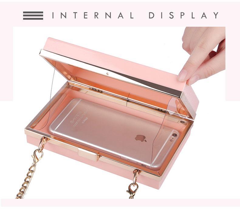 Neue 2019 Acryl Transparent Handtasche Kette Box Bag Mini Frauen Umhängetasche Party Day Clutch Geldbörse Brieftasche Vier Farben 265
