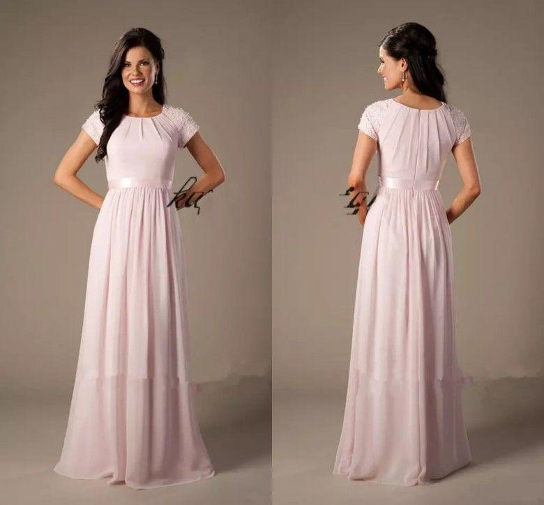 Modest Light Pink Bridesmaid Dresses Long Chiffon Cap