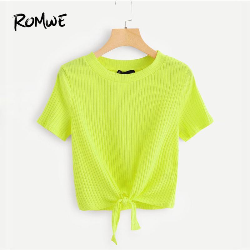 550d1290c5041 Romwe Knot Hem Rib Knit Top Summer Neon Green Women Fashion Short ...