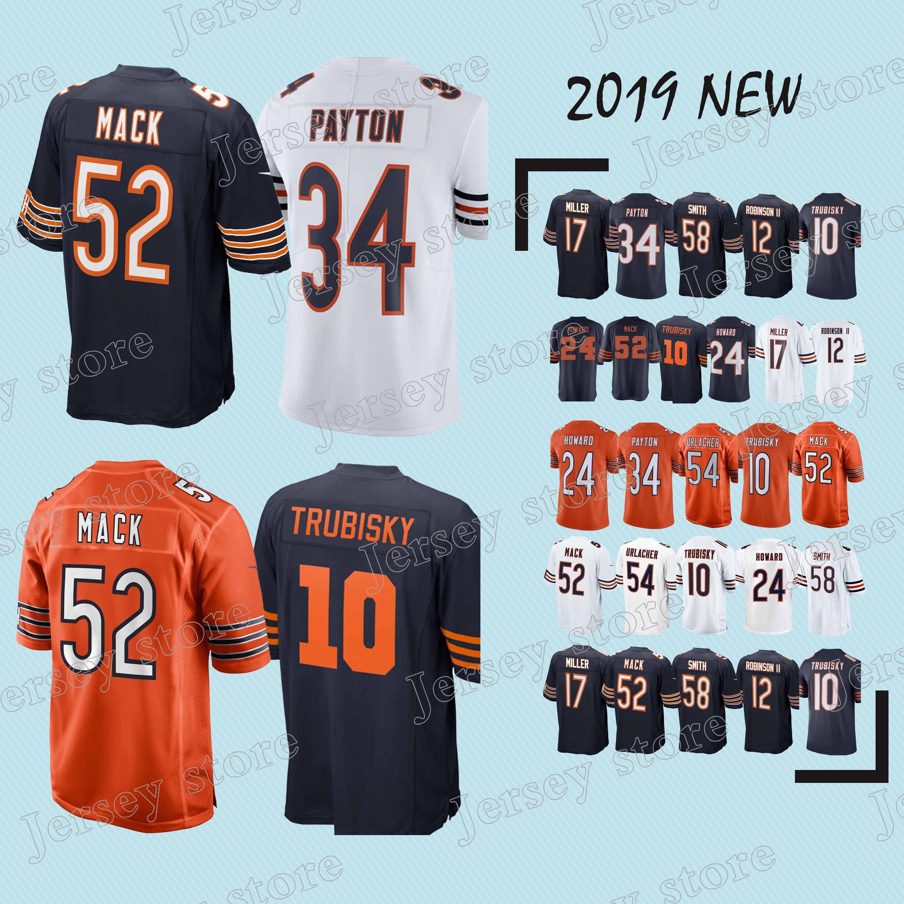 the latest 00fca 0a6cf CHICAGO jerseys BEARS 52 Khalil Mack 39 EDDIE JACKSON 34 Walter Payton new  jersey 2019 Top MEN shirt