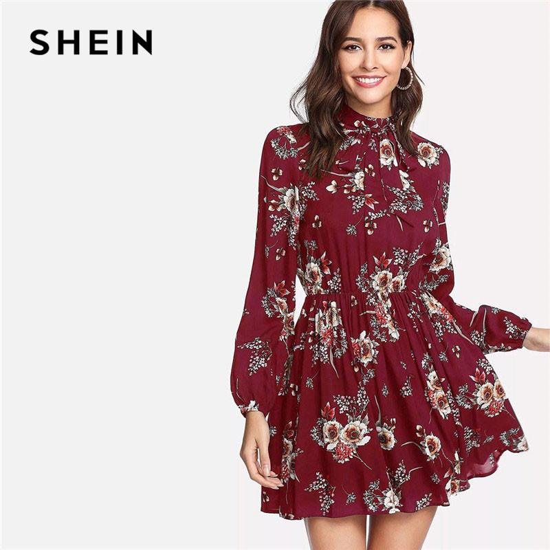 e854ae83e5f SHEIN Floral Print Tie Neck Bishop Sleeve Women Elegant A Line Chic Dress  Ladies Long Sleeve Stand Collar Vacation Dresses Backless Dress Dress Shirt  From ...