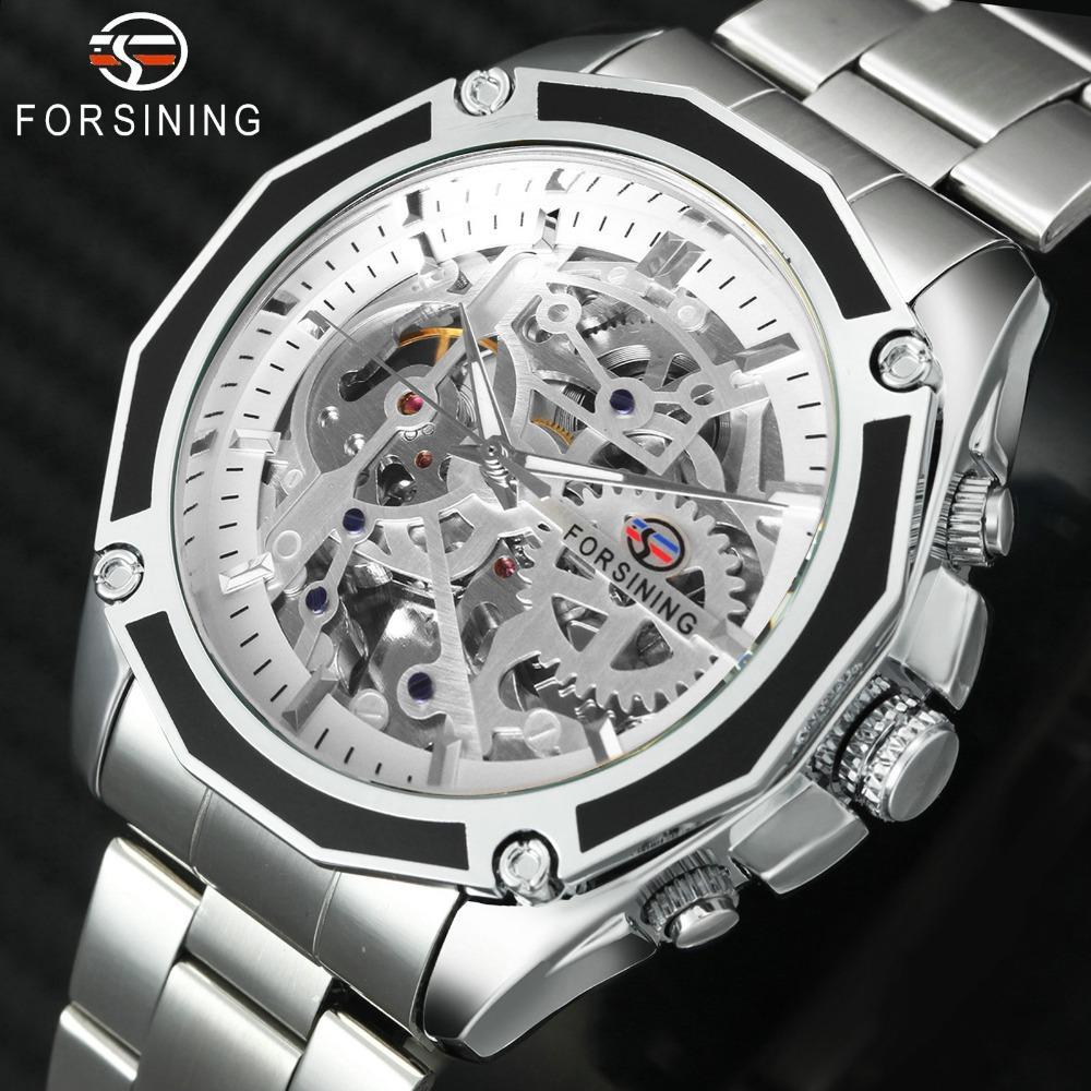 90d9bf7d6 FORSINING High Quality Fashion Auto Mechanical Watch Men Skeleton ...