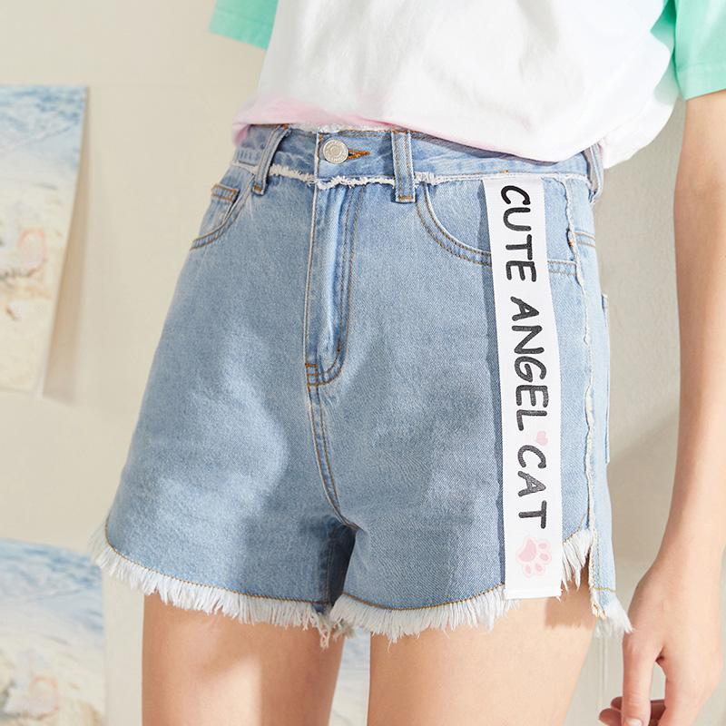 fd9d70a43 Compre Pantalones Cortos Vaqueros De Talle Alto De Denim Vintage De KUOSE  Para Mujer Pantalones Cortos Deshilachados Y Con Dobladillo Crudo  Desgastado A ...