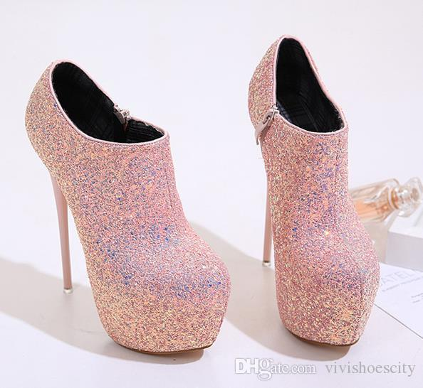 16cm black pink ultra high heels glitter sequins prom gown dress shoes platform ankle bootie shoes size 34 to 40