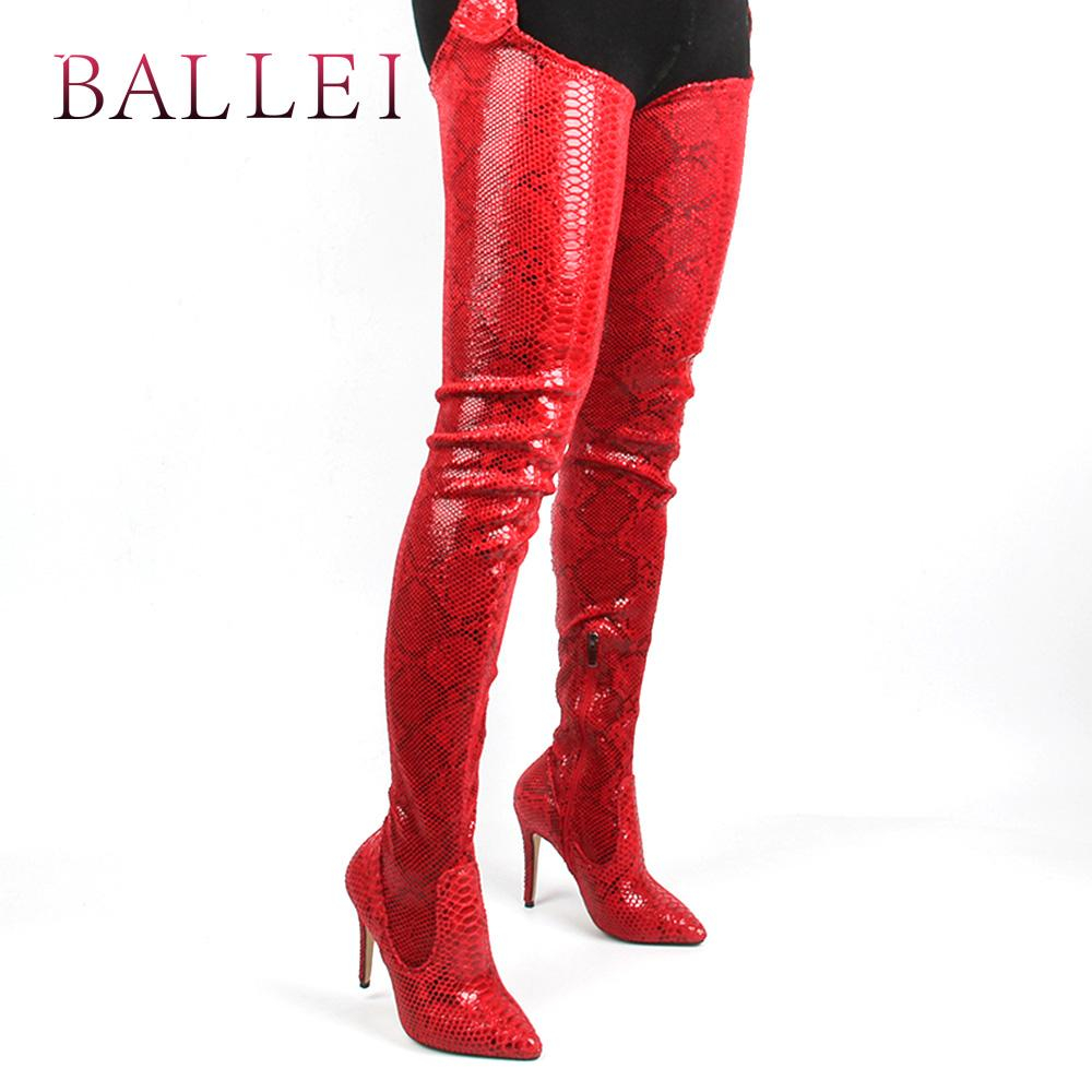 c339cbd7290 BALLEI Mature Woman Winter Over The Knee Boot High Quality PU Sexy Pointed  Toe Thin Heel Soft Shoes Fashion Party Queen Boot H26 Moon Boots Red Shoes  From ...