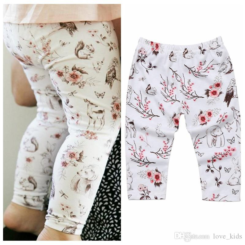 Infant floral legging pants new design animal printed trousers hot sale baby girl bunny long pants