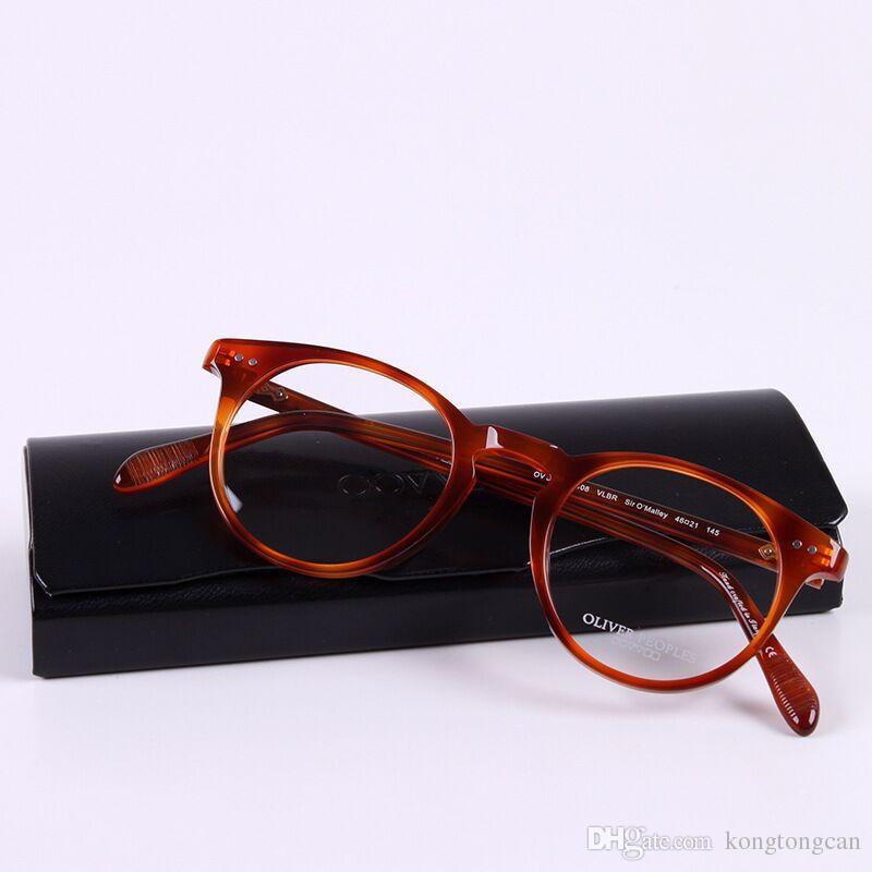 ecb469fcbfe72 Compre Retro Vintage Clássico Rodada Frame De Óculos Ov5256 Sir O Mally  Quadro De Acetato Mulheres Homem Marca Design Caixa Original Prescrição  Lens De ...