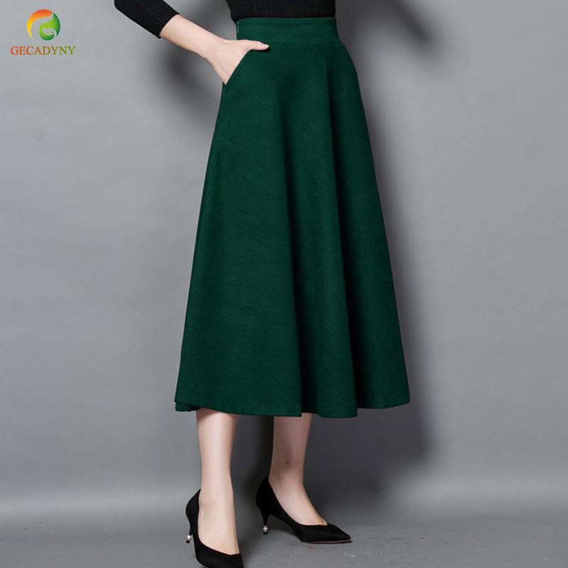 c2bba0c74 Nueva falda de invierno Moda de otoño Faldas largas de lana de las mujeres  Una línea de faldas de lana 5 colores Sólidos bolsillos Casual Big Swing ...