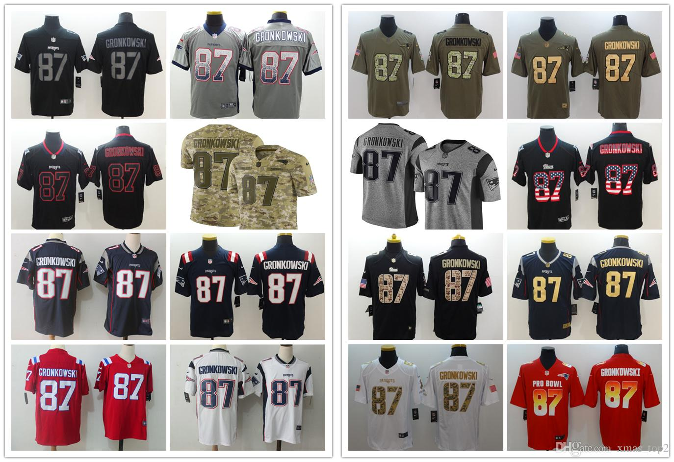 separation shoes 0a33b 8b386 2019 New Mens 87 Rob Gronkowski Camo Jersey Patriots Football Jersey  Stitched Embroidery Patriots Rob Gronkowski Color Rush Football Shirt
