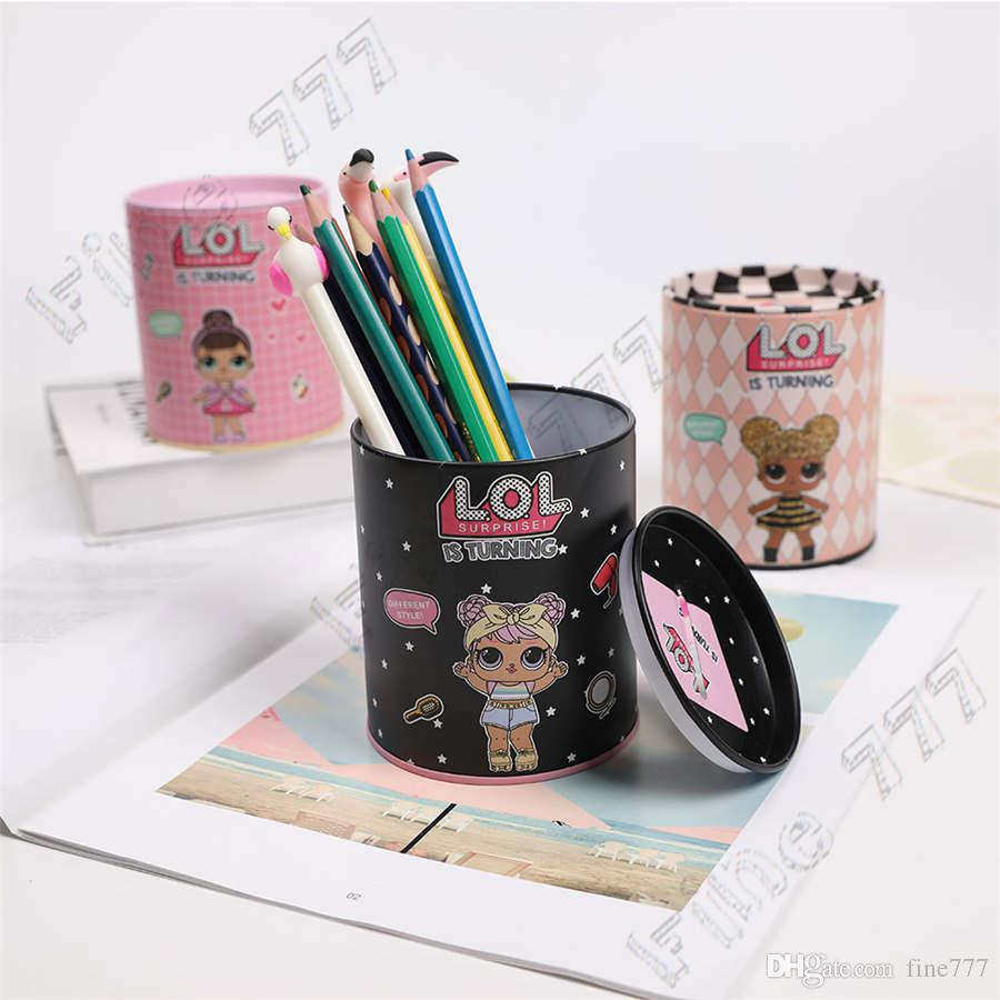 Hottest LOL doll Pen Holder Brush Pens Iron Storage Box lol Piggy Bank Coin storage Tank