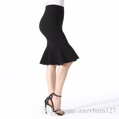f3b03793b 2019 Nueva Falda Semi-larga Vestido de Verano de Moda de Las Mujeres Al Por  Mayor Delgado Falda de cola de Pescado Botón Sexy Falda Semi-larga