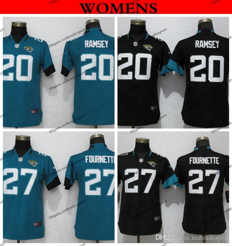 sports shoes cb39c 142cf Womens Jacksonville Ladies Jaguars 27 Leonard Fournette 20 Jalen Ramsey  Home Black Teal Football Jerseys S-XXL