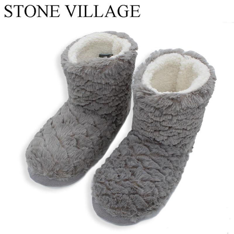 2c7194b01e4 STONE VILLAGE New Arrival 2018 Winter Indoor Slippers For Women Adult House Shoes  Soft Warm Slippers Warm Thickened Fluff 18 80 Womens Cowboy Boots Slippers  ...