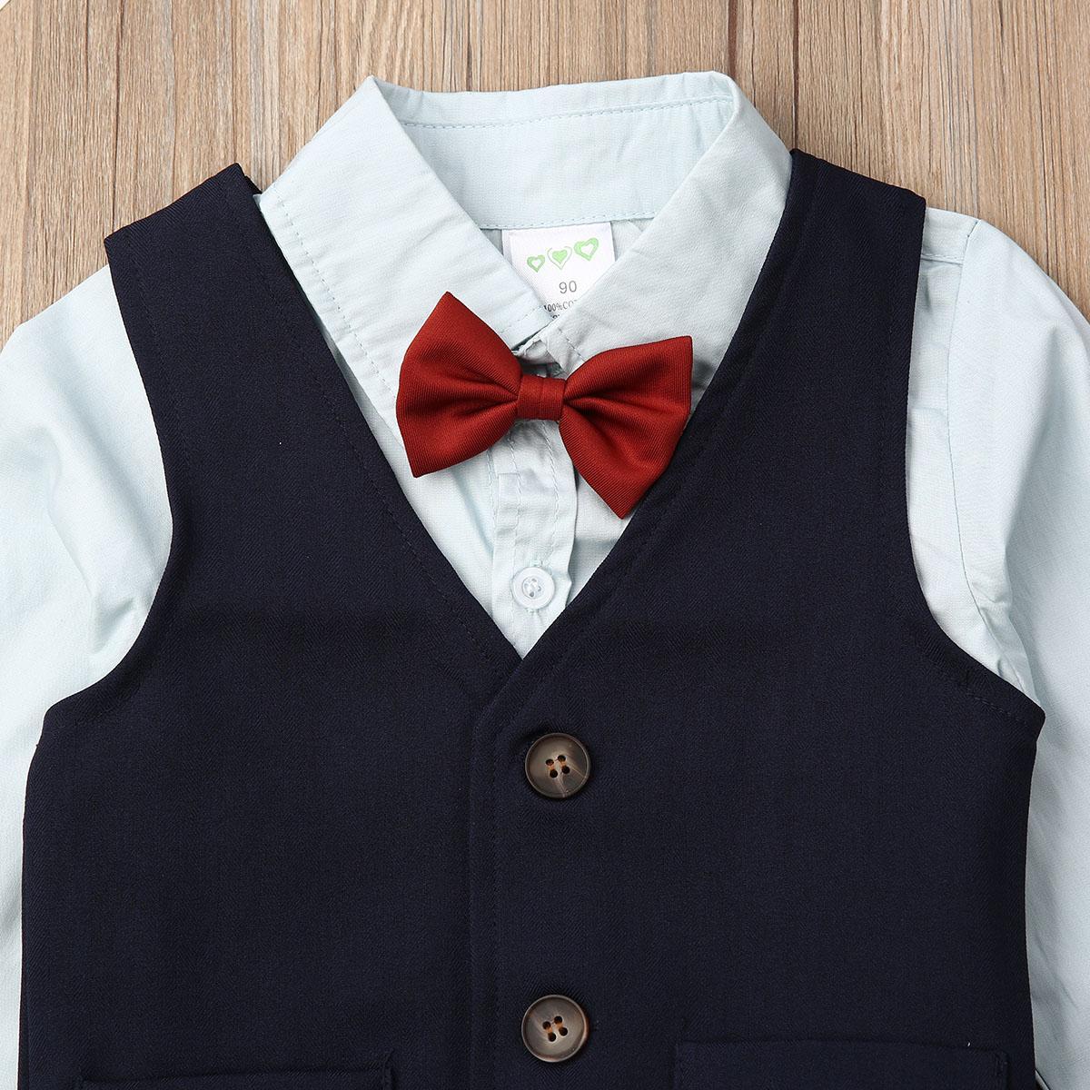 Формальные дети Baby Boy Джентльмены костюмы галстук-бабочка + рубашки+жилет+брюки 4шт формальные партии костюм наряды ребенок мальчик костюмы 1-7 лет