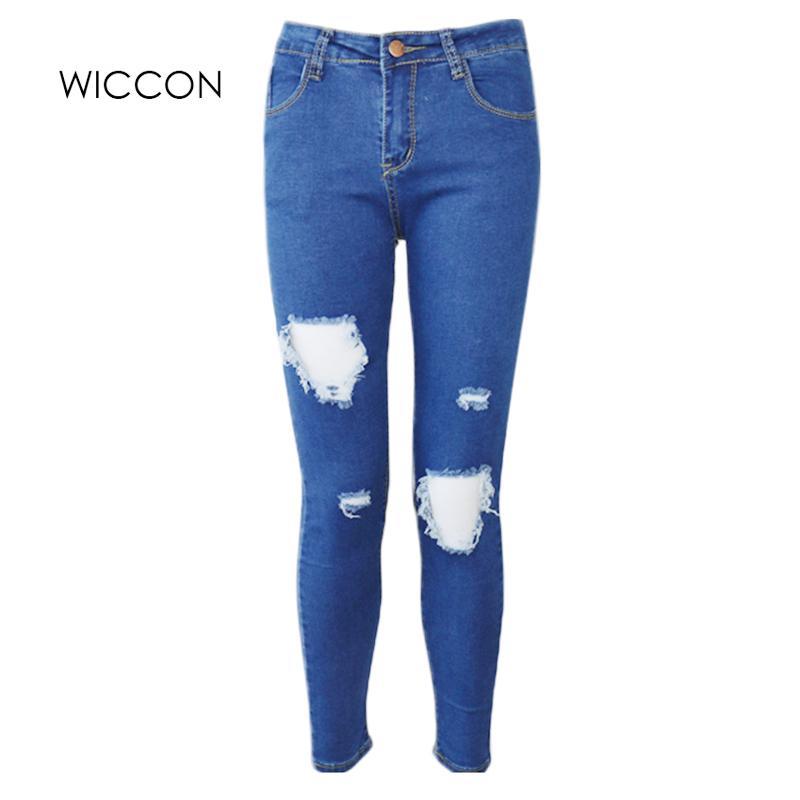 7556b2827152 Acquista Moda Casual Donne Di Marca Vintage Vita Alta Skinny Jeans Denim  Sottile Strappato Matita Buco Pantaloni Femminili Sexy Ragazze Pantaloni  D18111206 ...