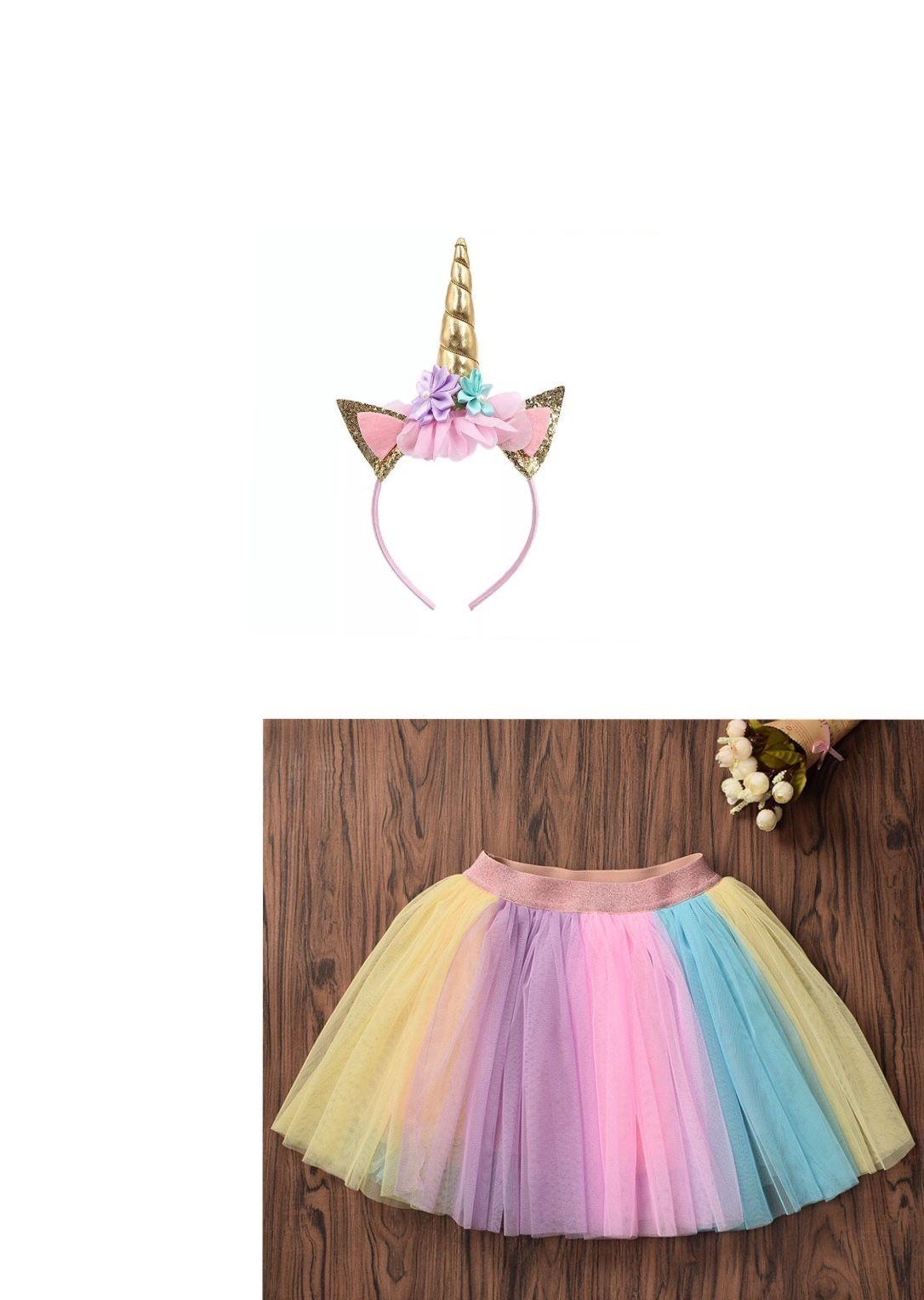 676cac0737 Compre S L Rainbow Unicorn Girl Tutu Skirt Girl Pony Theme Fiesta De  Cumpleaños Faldas Con Diadema Niños Unicornio Traje Conjunto A $854.28 Del  Zvayo666 ...