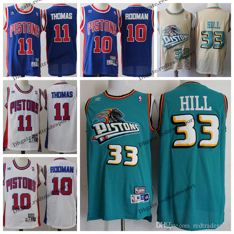 69d36eec1bc 2019 Vintage Mens  33 Detroit Grant Hill Pistons 1996 Classic Gold  Basketball Jersey Cheap Dennis Rodman Isiah Thomas Stitched Shirts S XXL  From ...