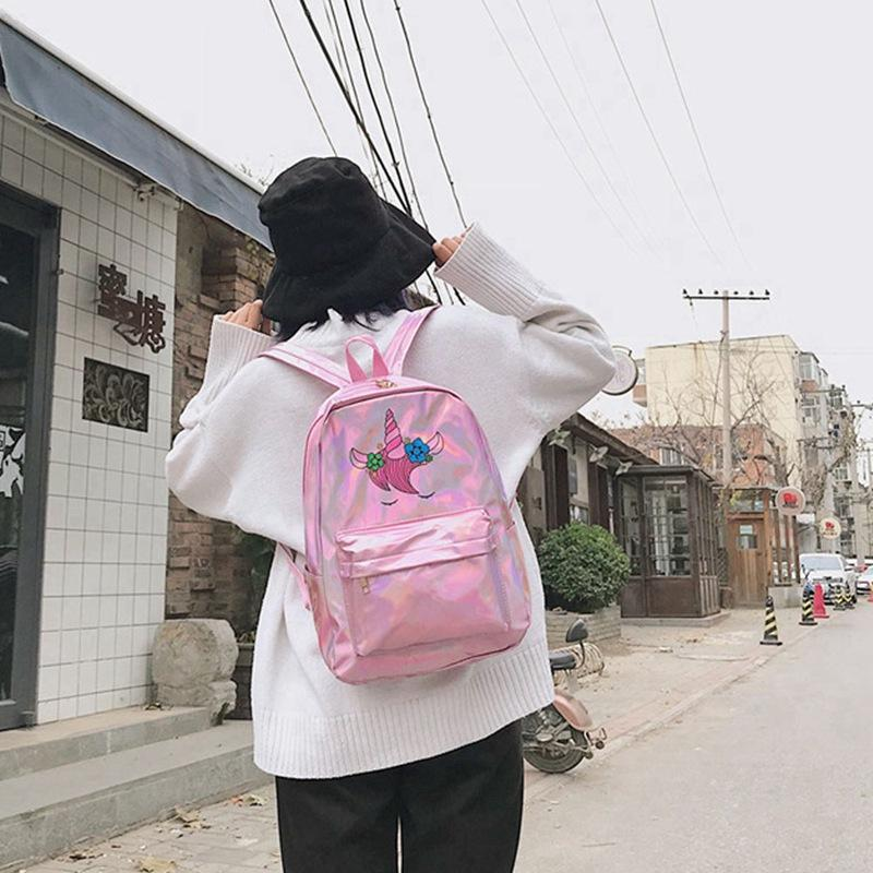 Unicorn Glitter Laser Backpack Girl School Bag Cartoon Printing Backpacks Book Big Capacity Bags Satchel Lonely Women Travel Bag
