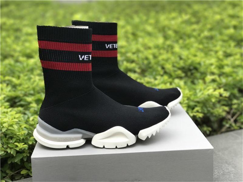 1368da28e946 Vetements X RBK Trainer Sneaker Black Red Grey Sock Runner Ultraknit  Lightning Speed Trainer Women Men Boots All Size Silver Shoes Casual Shoes  From ...