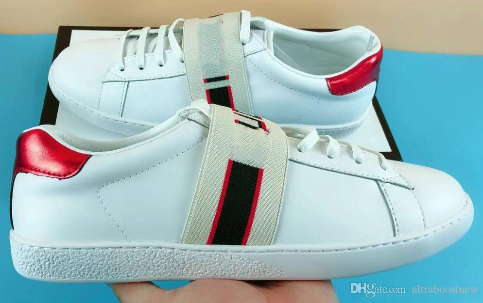 14bb92cb56d 2019 NEW Luxury Designer Ace Shoes Men White Tape Leather Women Casual  Brand Sneaker Green Red Stripe Embroidery Pearl Snake Tiger Size 35 49 From  ...