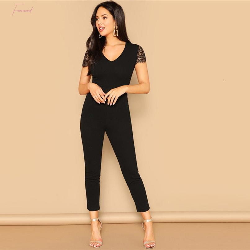Black V Neck Jumpsuits Lace Sleeve Skinny Jumpsuit 2019 Mid Women Waist Short Sleeve Trouser Highstreet V Neck Spring