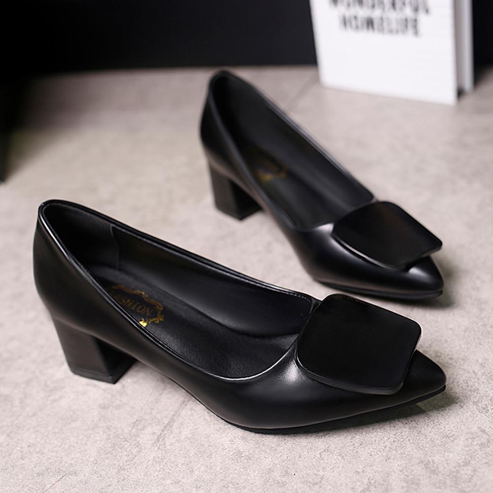 049da8c9 Compre Zapatos De Vestir De Diseñador Venta Caliente Moda Mujeres Boca Baja  Talón Grueso Clásico Sexy Talón Zapatillas Mujer A $19.55 Del Deals22 |  DHgate.
