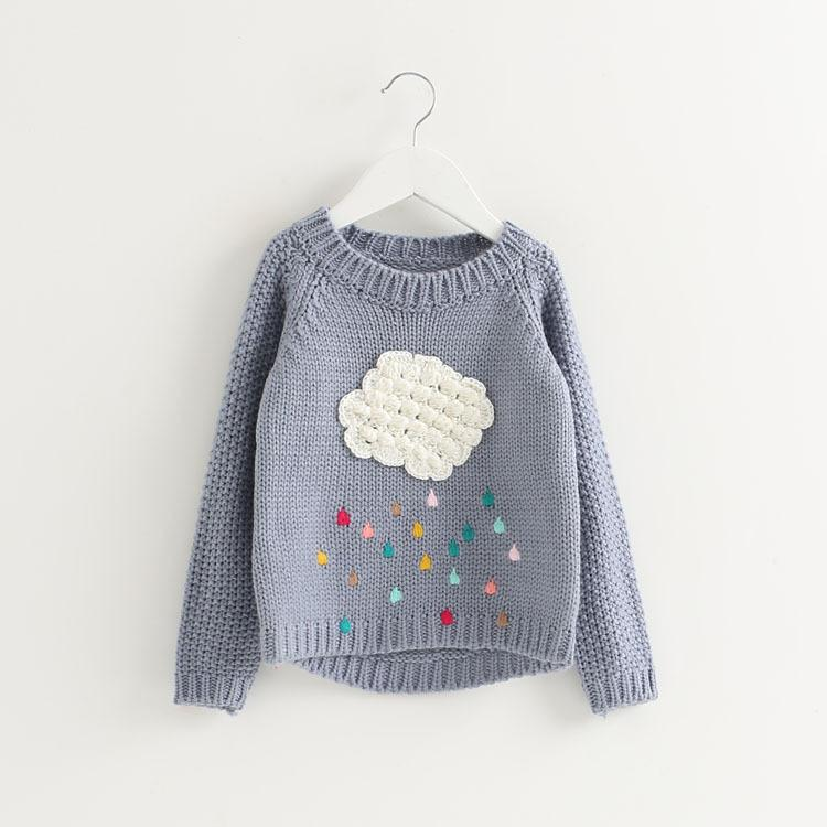 Hot Sale Cute Warm Sweater for Girls Kids Cloud Long Sleeve Baby Girl  Sweater O Neck Loose Sweaters Child Pullover Tops Clothes